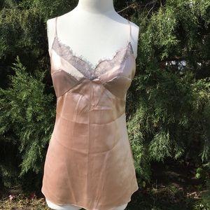 Diane Von Furstenburg silk camisole gray lace 10